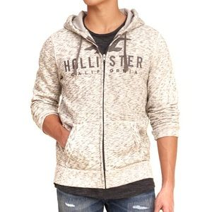 Hollister Grey and White Graphic Hoodie
